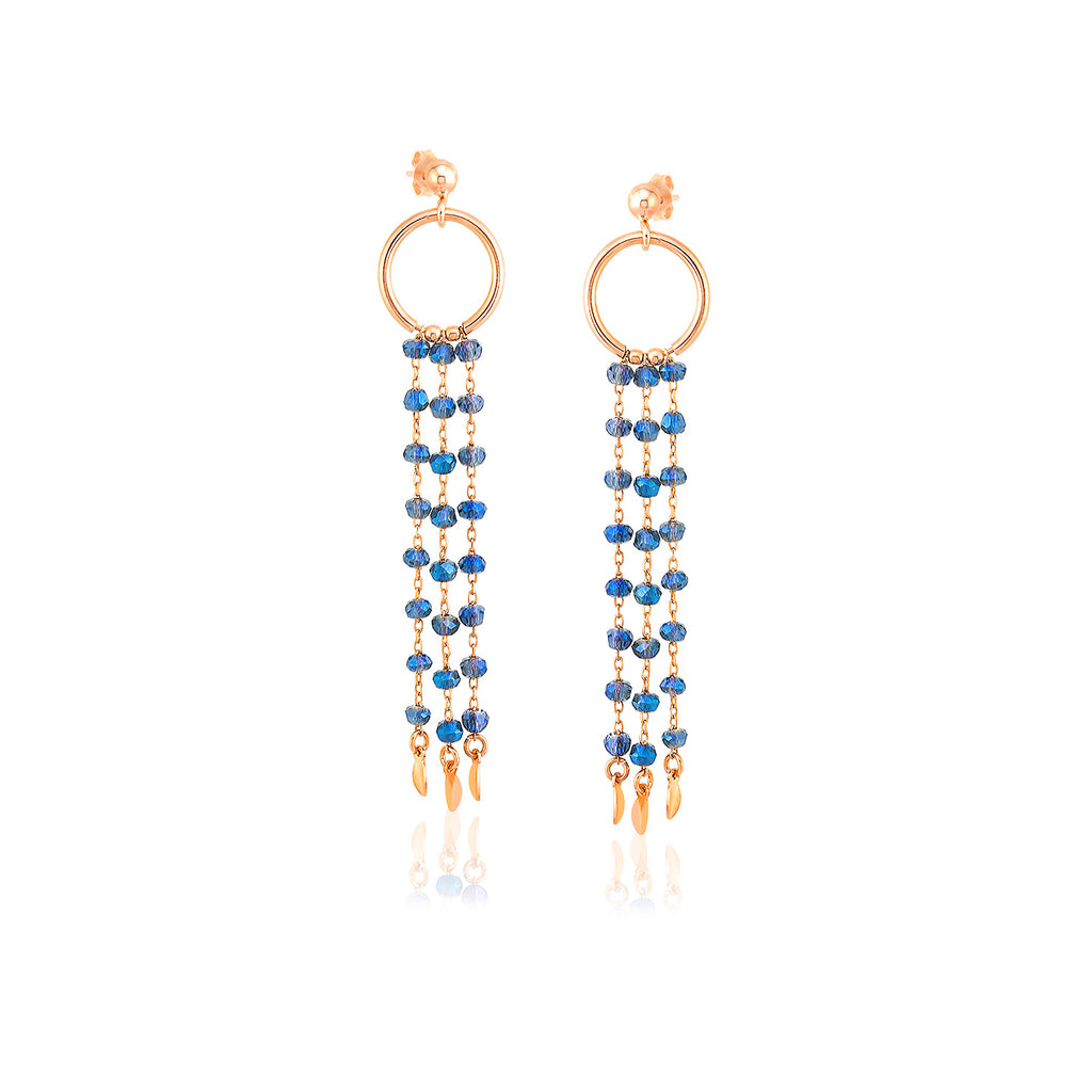 925 Sterling Silver 18K Gold Plating Best Quality Custom Design Fashionable Light Blue Bead Chandelier Wholesale Turkish Jewelry Earring