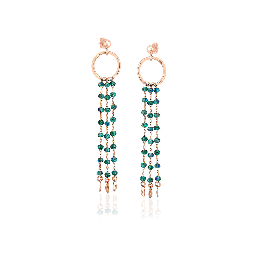 925 Sterling Silver 18K Gold Plating Custom Design Fashionable Green Rainbow Shiny Bead Chandelier Wholesale Turkish Jewelry Earring