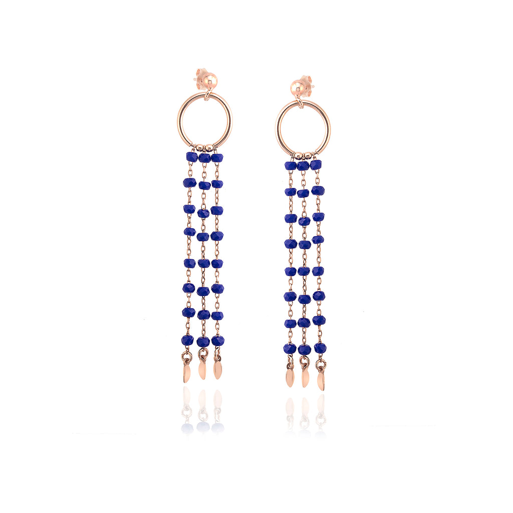 925 Sterling Silver 18K Gold Plating Best Quality Custom Design Fashionable Saxe Blue Bead Chandelier Wholesale Turkish Jewelry Earring
