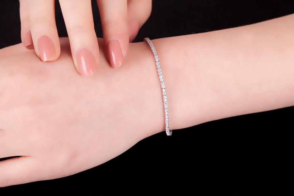White Zirconia Gold Plated Tennis Bracelet Wholesale 925 Crt Sterling Silver Turkish Jewelry