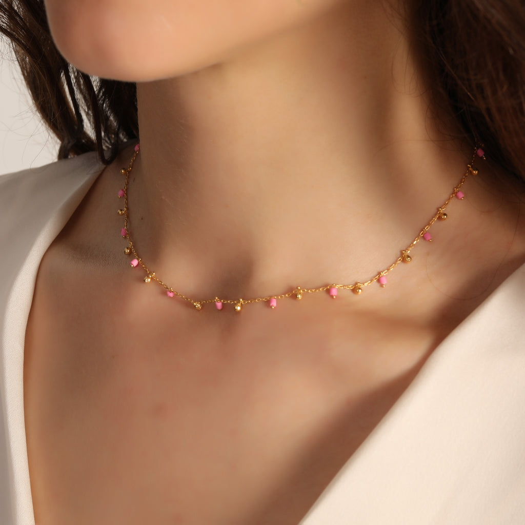 925 Crt Sterling Silver Mini Balls and Pink Beads Gold Plated Necklace Wholesale Turkish Jewelry
