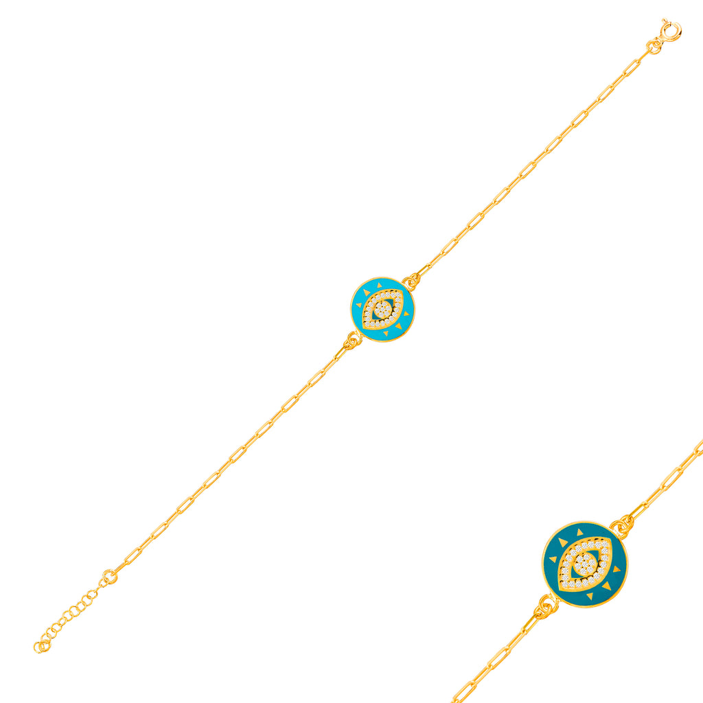 Gold Plated Turquoise Enamel Round Eye Bracelet  925 Crt Sterling Silver  Wholesale Turkish Jewelry