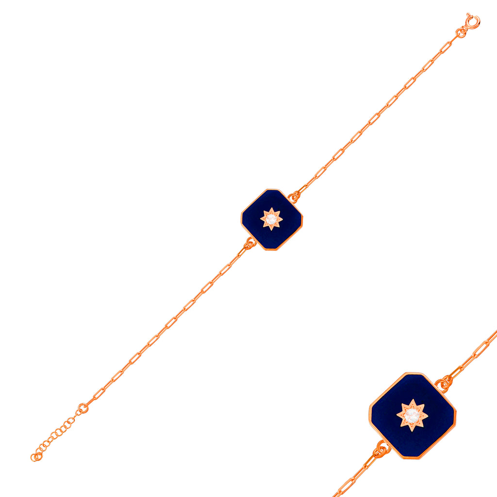 Gold Plated Dark Blue Enamel Square  925 Crt Sterling Silver  Bracelet Wholesale Turkish Jewelry