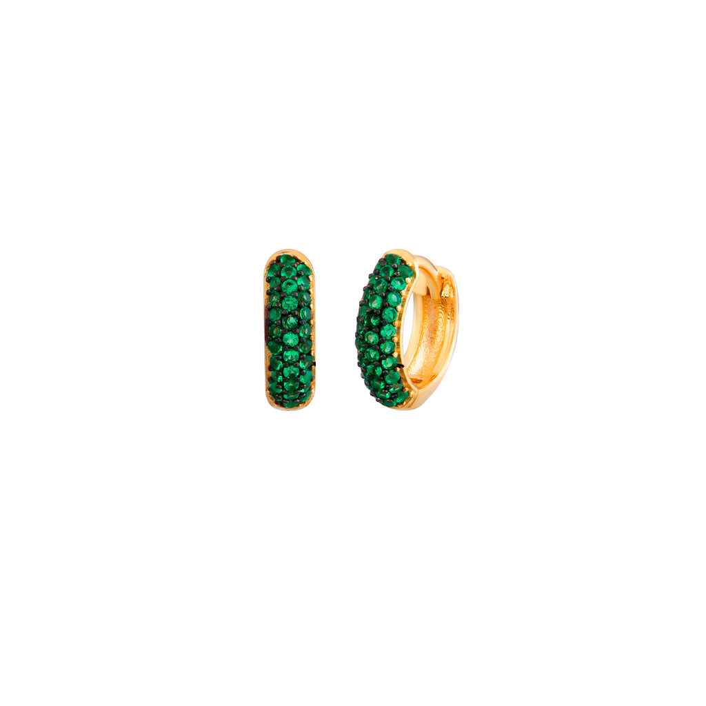 Gold Plated Green Zirconia Mini Hoop Earring  925 Crt Sterling Silver Wholesale Turkish Jewelry
