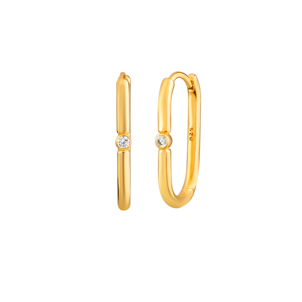 Gold Plated Center Stone Link Earring 925 Crt Sterling Silver Wholesale Turkish Jewelry
