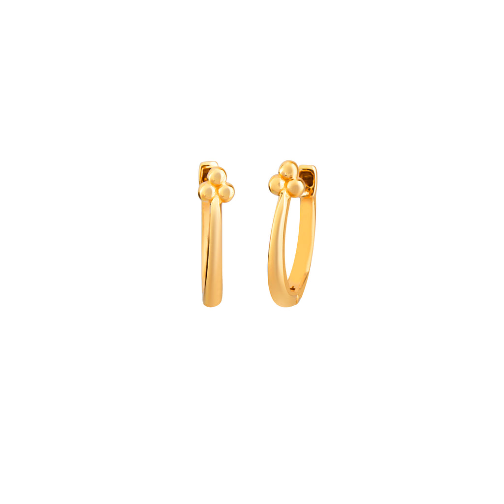 Gold Plated Three Ball Hoop Earring 925 Crt Sterling Silver Wholesale Turkish Jewelry