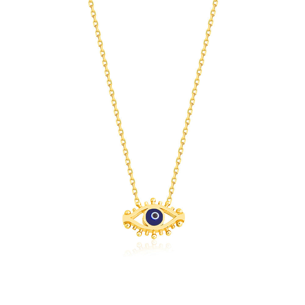 Gold Plated Fashionable Navy Blue Evil Eye Lash Necklace 925 Crt Sterling Silver Wholesale Turkish Jewelry