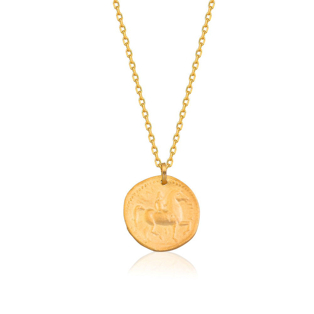 925 Crt Sterling Silver Best Price Best Quailty Ancient Greek Money Gold Plated Fashionable Summer Coin Necklace Wholesale Turkish Jewelry
