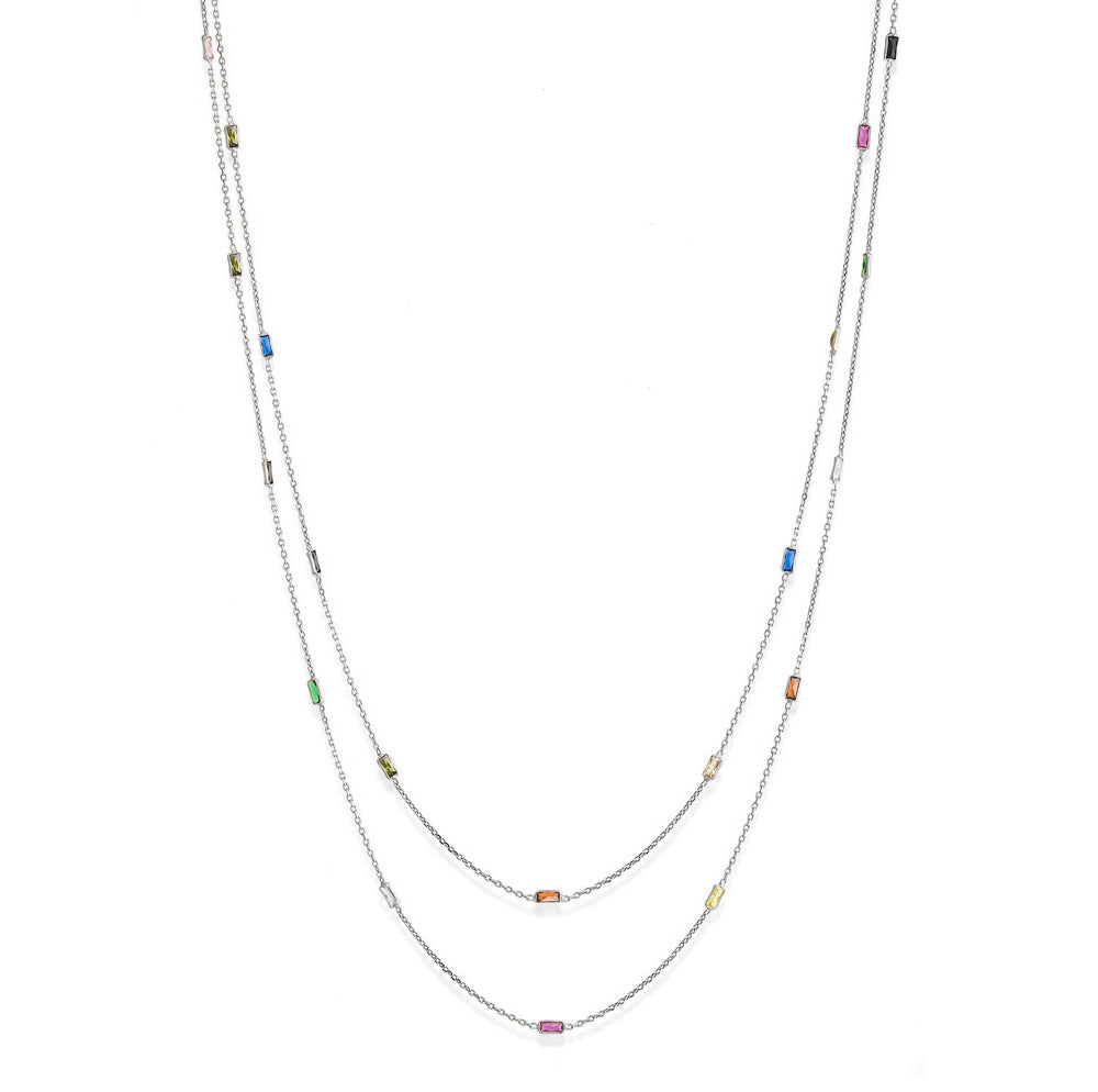 925 Crt Sterling Silver Gold Plated Fashionable Colorfull Baquette Zirconia 90 cm Long Necklace Wholesale Turkish Jewelry