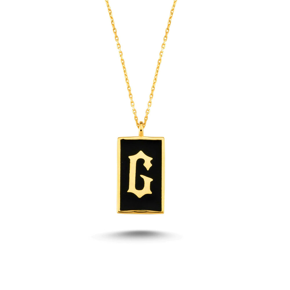 925 Crt Sterling Silver Gold Plated Fashionable Black Enamel Letter Initial Rectangle Necklace Wholesale Turkish Jewelry