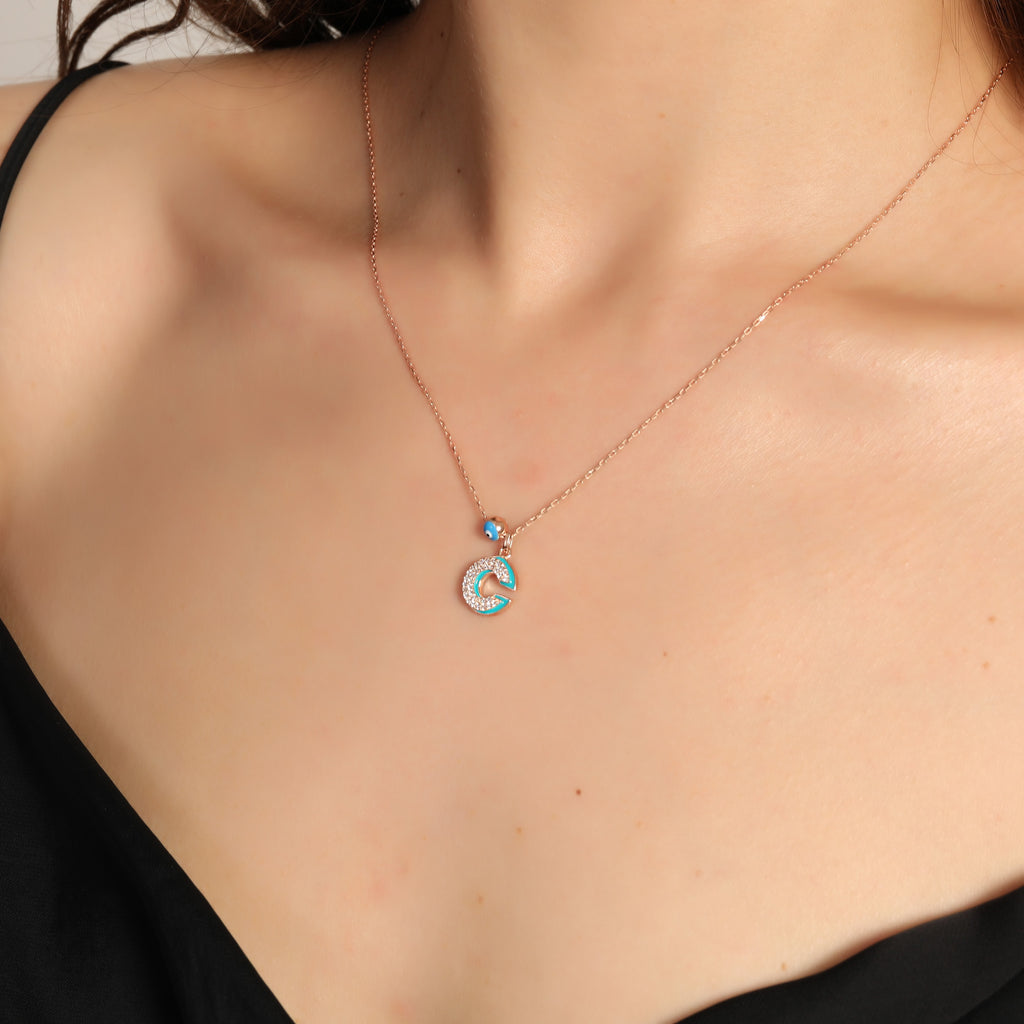 Gold Plated Fashionable Evileye and Enamel İnitial Letter Necklace 925 Crt Sterling Silver  Wholesale Turkish Jewelry
