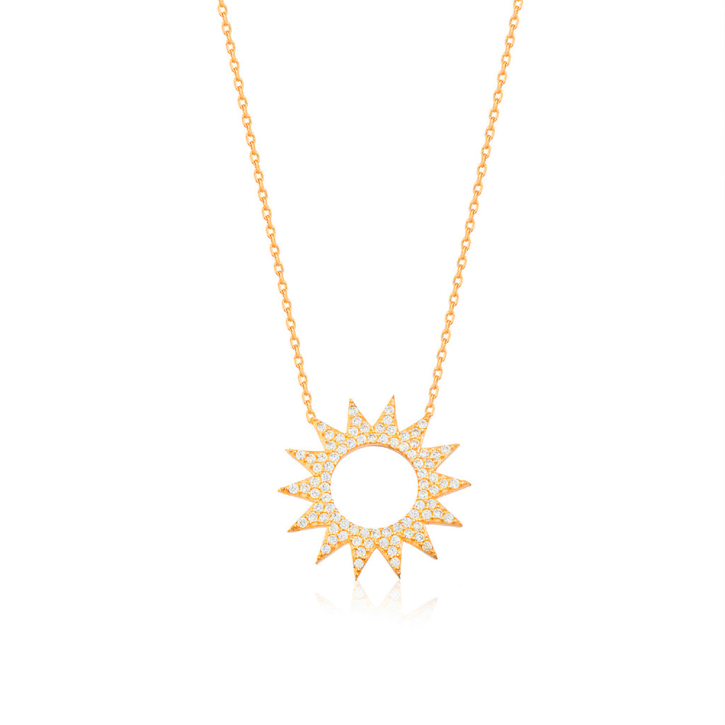 925 Crt Sterling Silver Zirconia Hollow Sun Gold Plated Necklace Wholesale Turkish Jewelry