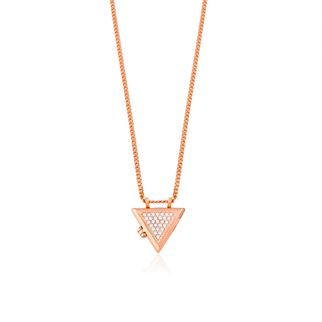 925 Crt Sterling Silver Zirconia Triangle Locket Gold Plated Necklace Wholesale Turkish Jewelry