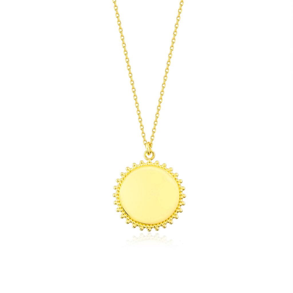925 Crt Sterling Silver Medallion Sun Gold Plated Necklace Wholesale Turkish Jewelry