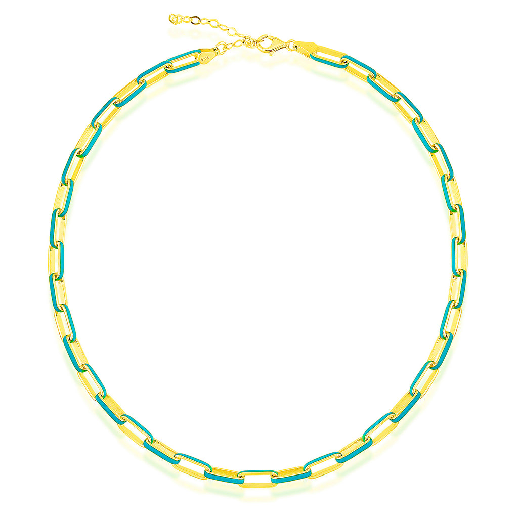 925 Crt Sterling Silver Turquoise Enamel Paper Clip Chain Gold Plated Necklace Wholesale Turkish Jewelry