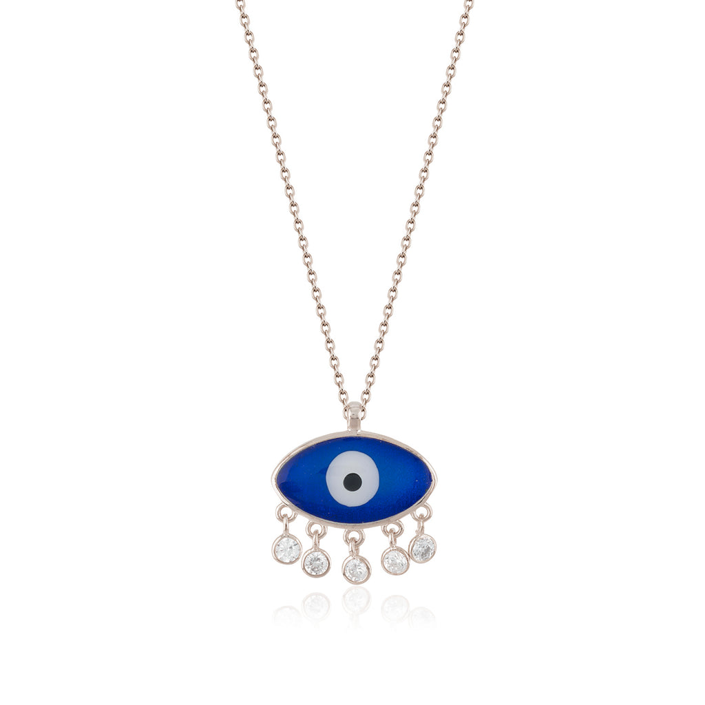 925 Crt Sterling Silver Zirconia Pending Navy Evil Eye Gold Plated Necklace Wholesale Turkish Jewelry