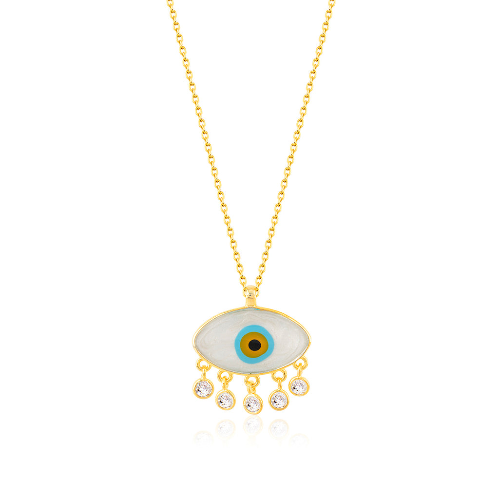 925 Crt Sterling Silver Zirconia Pending White Evil Eye Gold Plated Necklace Wholesale Turkish Jewelry