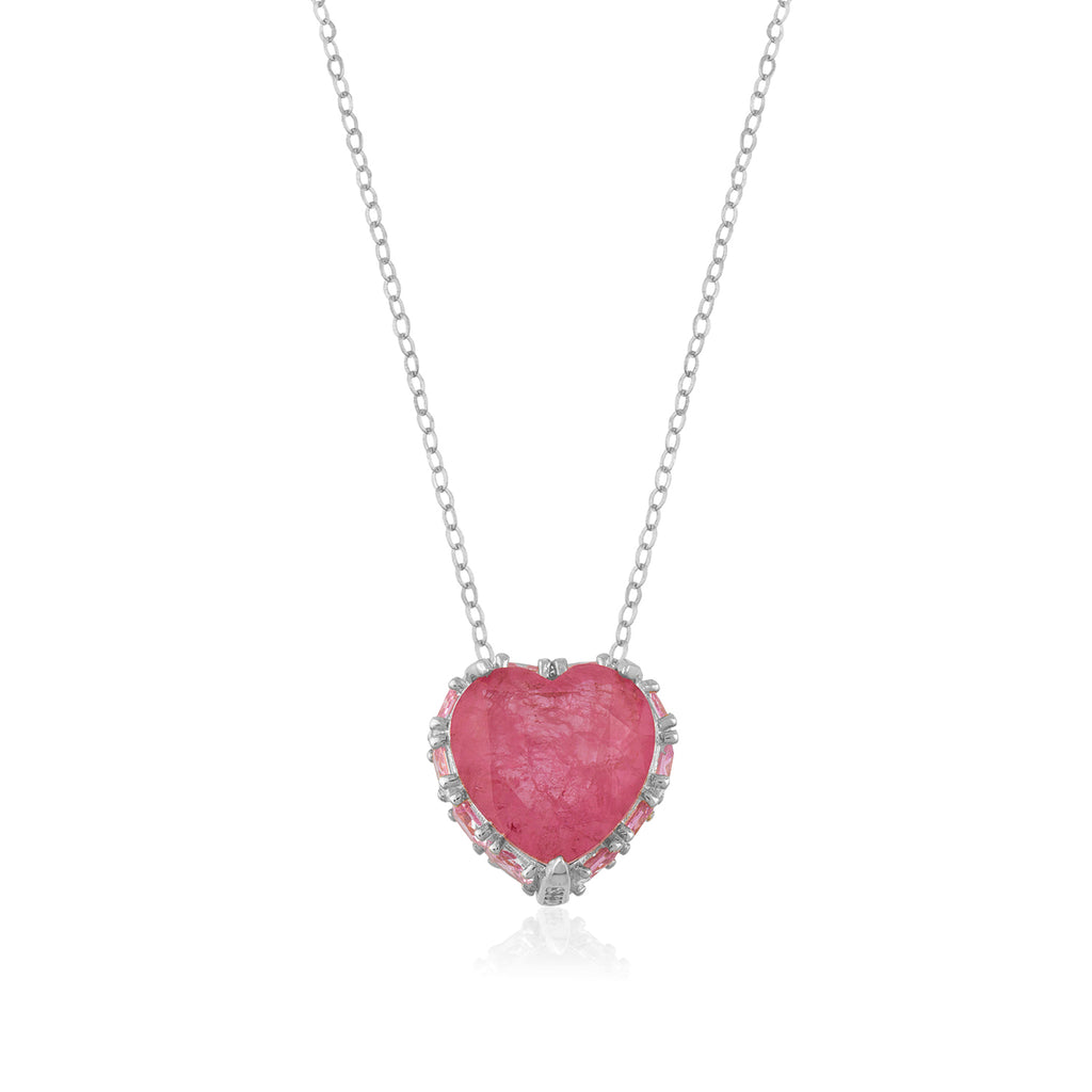 925 Crt Sterling Silver Pink Zirconia Heart Gold Plated Necklace Wholesale Turkish Jewelry