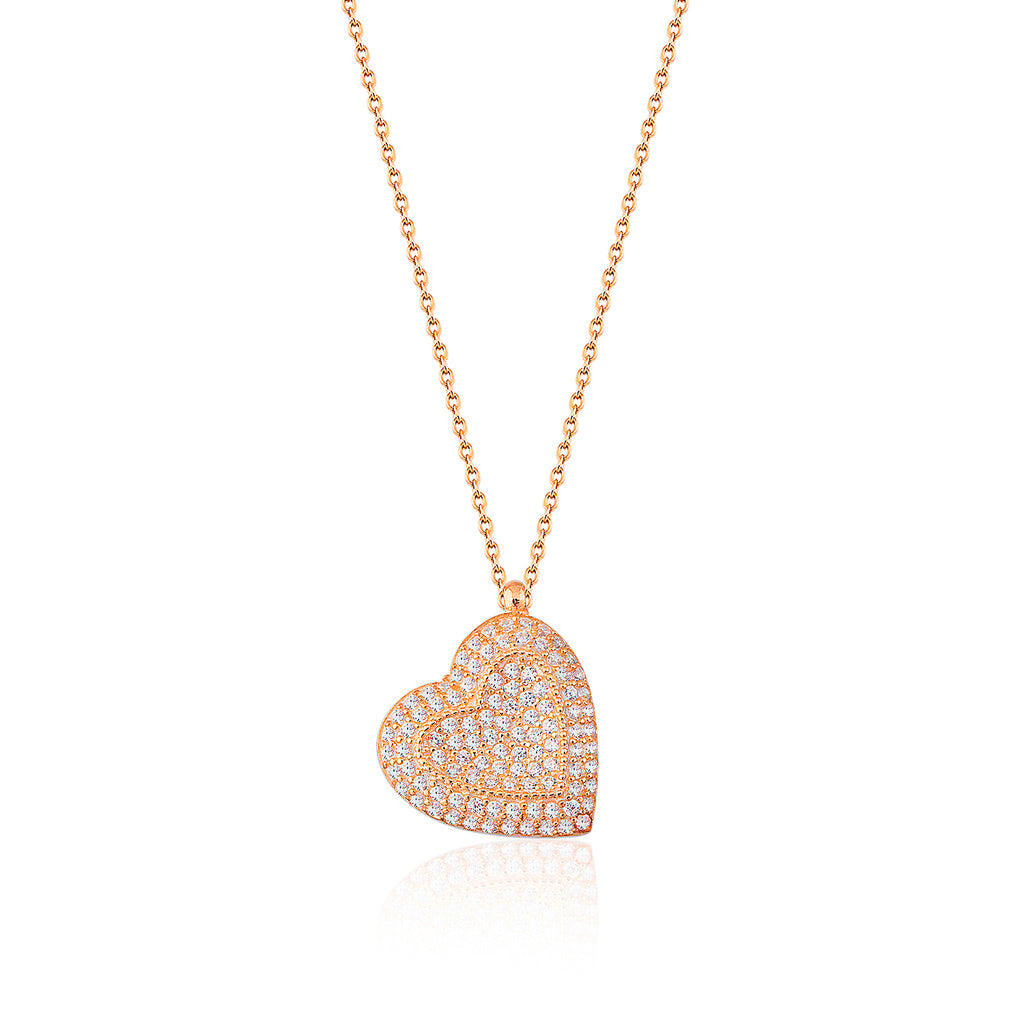 Zirconia Heart Gold Plated Necklace 925 Crt Sterling Silver  Wholesale Turkish Jewelry