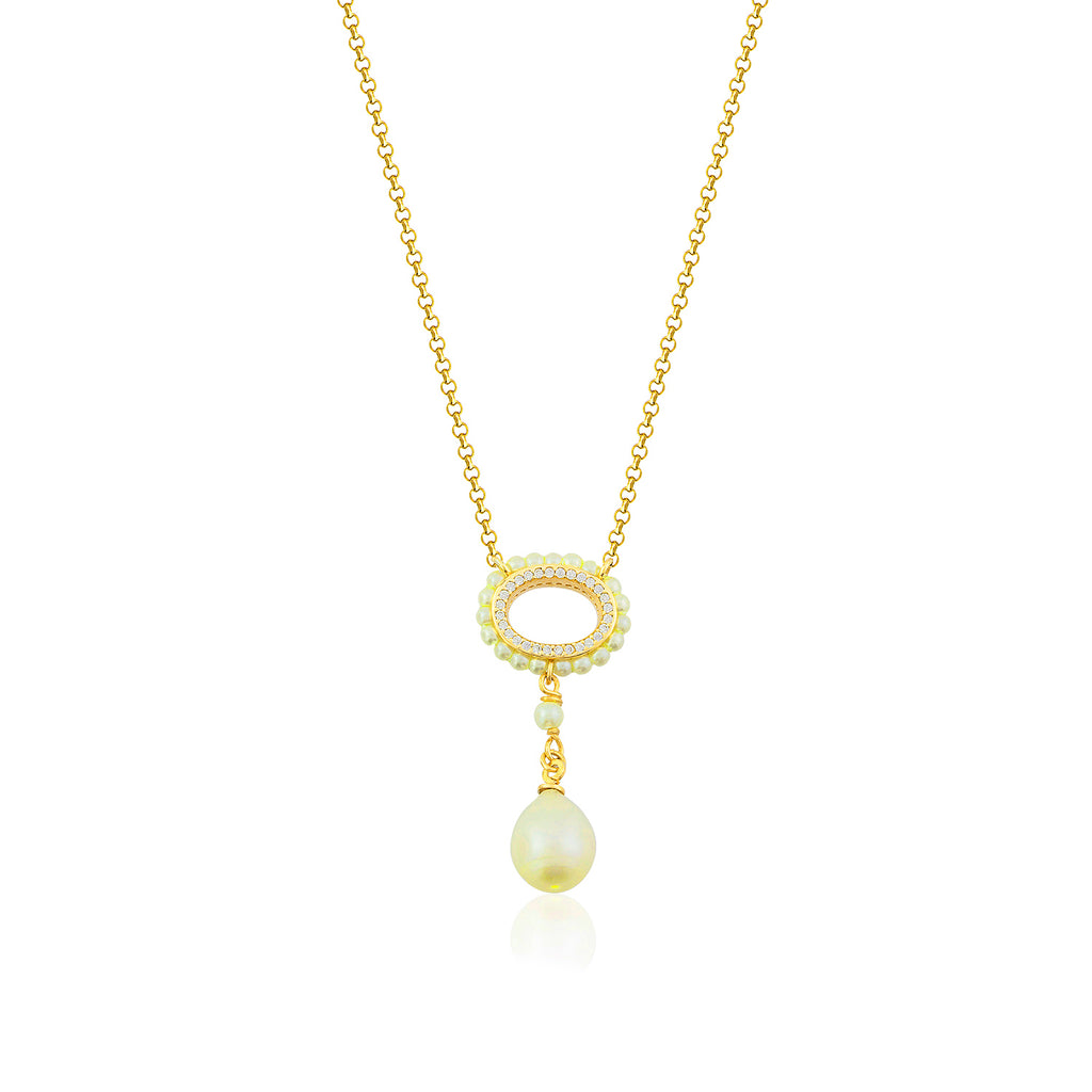 925 Crt Sterling Silver Pearl Zirconia Frame Gold Plated Necklace Wholesale Turkish Jewelry