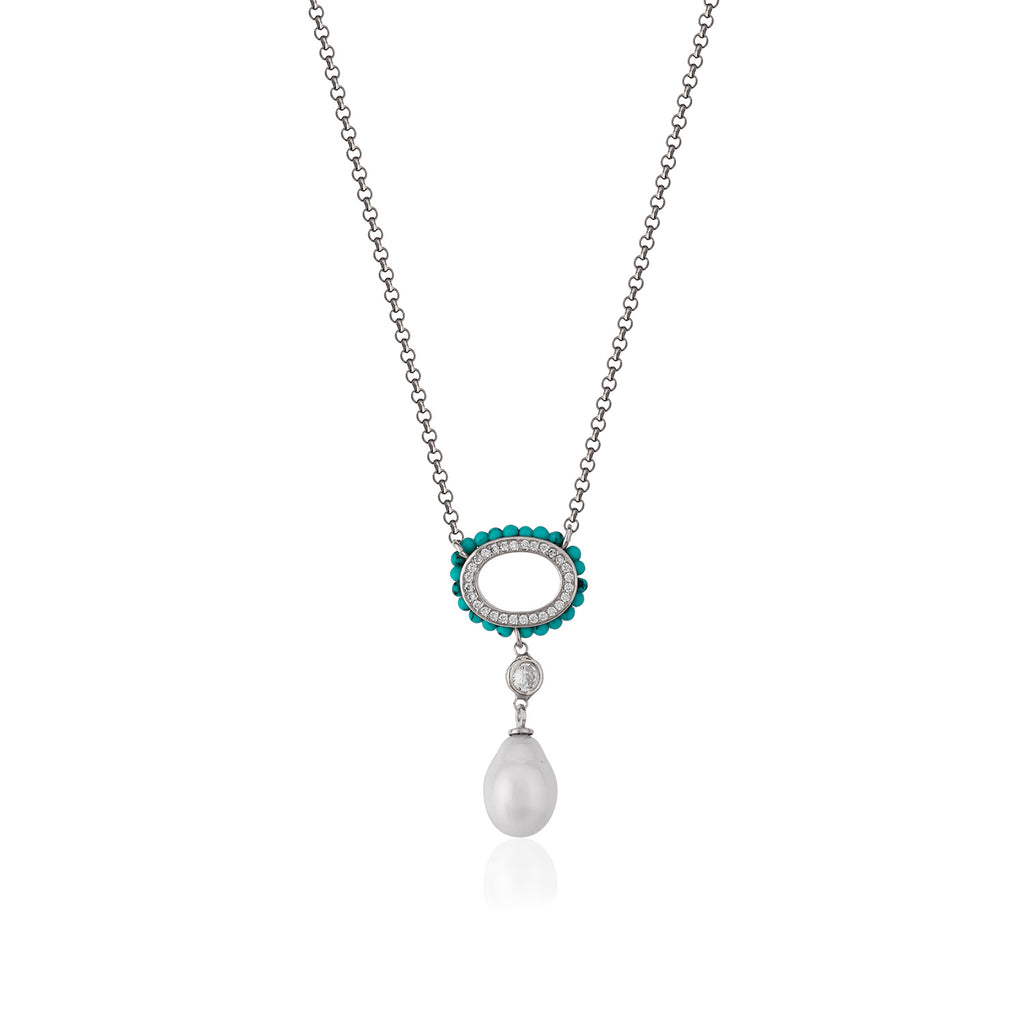 925 Crt Sterling Silver Pearl Turquoise Frame Gold Plated Necklace Wholesale Turkish Jewelry