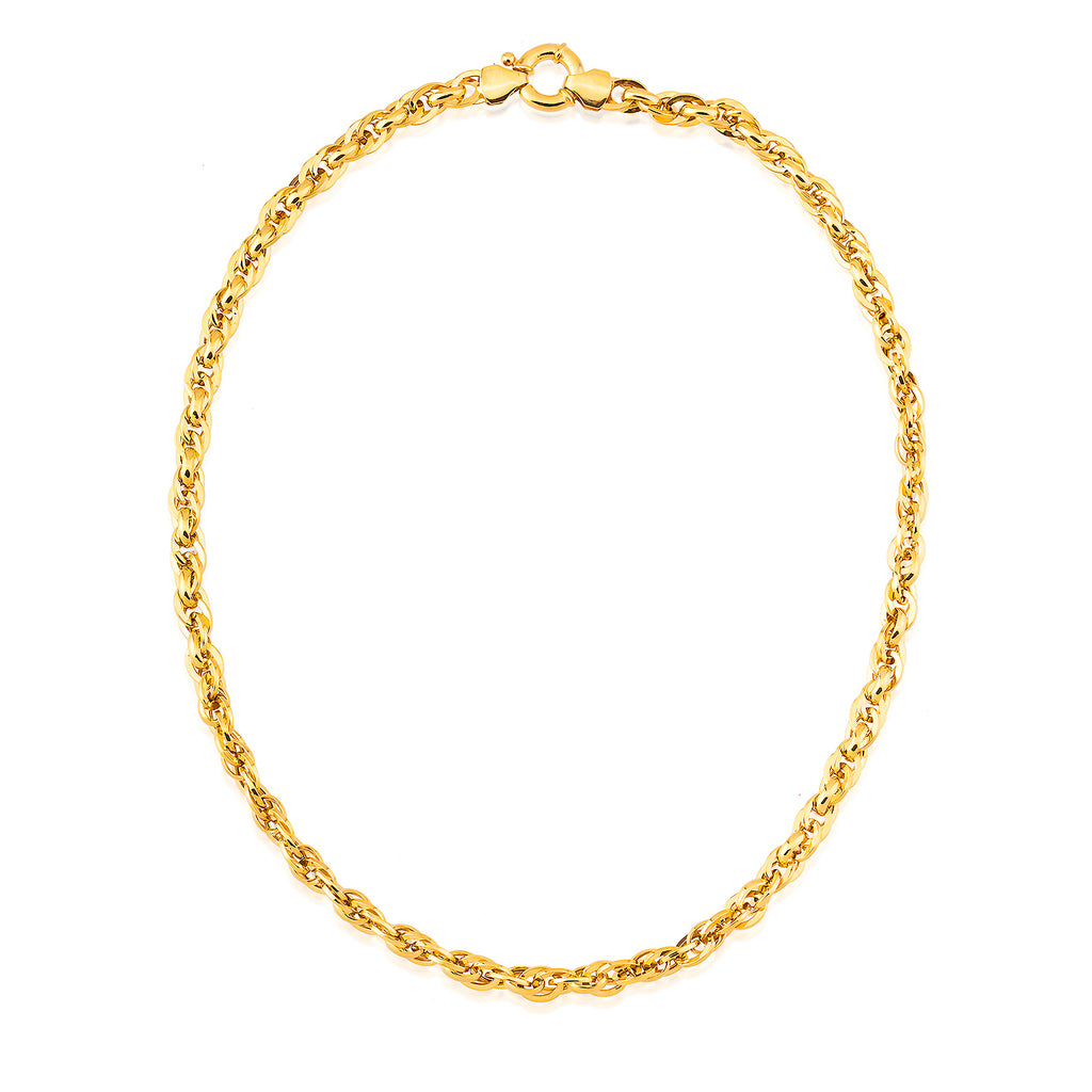 Rope Chain Gold Plated Necklace Wholesale 925 Crt Sterling Silver  Turkish Jewelry