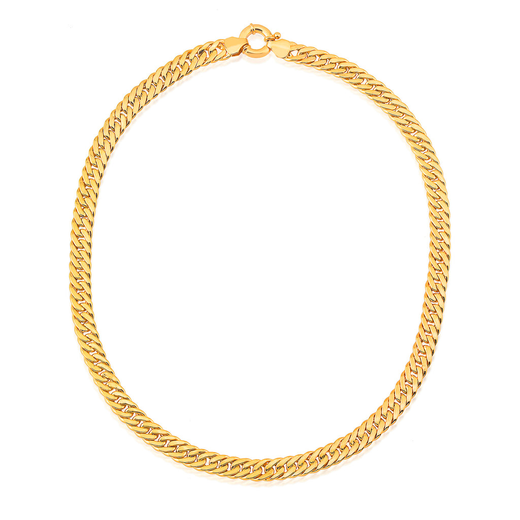 Thick Cuban Curb -2 Chain Gold Plated Necklace  925 Crt Sterling Silver Wholesale  Turkish Jewelry