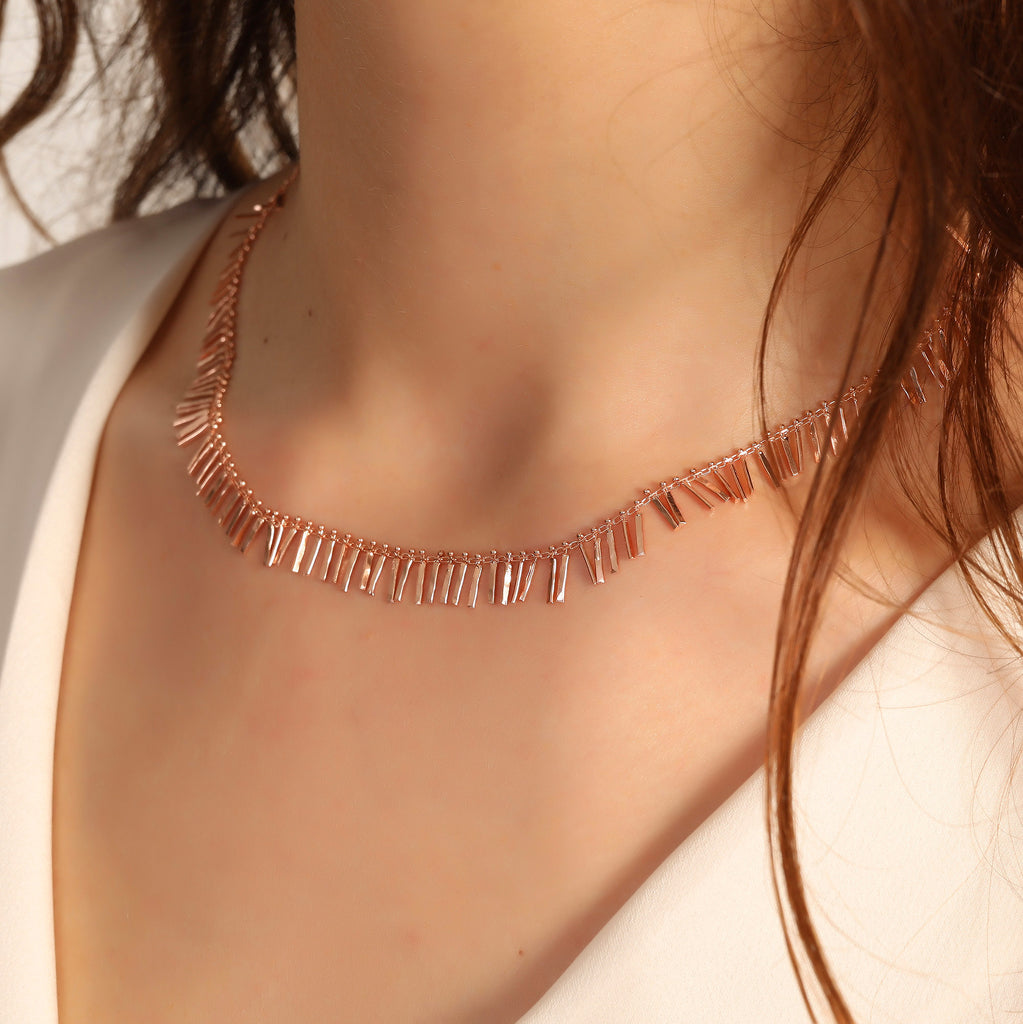 925 Crt Sterling Silver Mini Bar Fringe Gold Plated Necklace Wholesale Turkish Jewelry