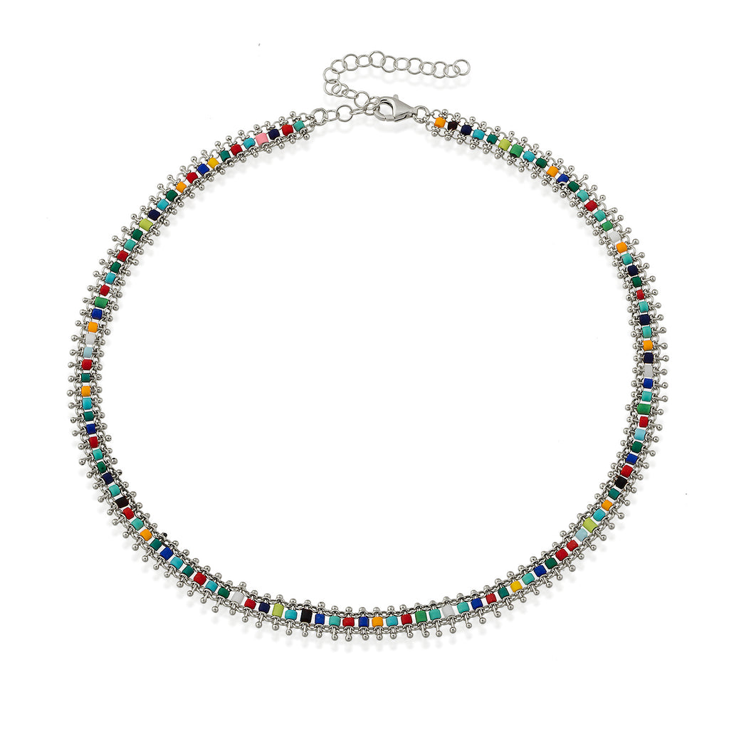 Multicolor Ethnic Bead Choker Gold Plated Necklace Wholesale Turkish 925 Crt Sterling Silver Jewelry
