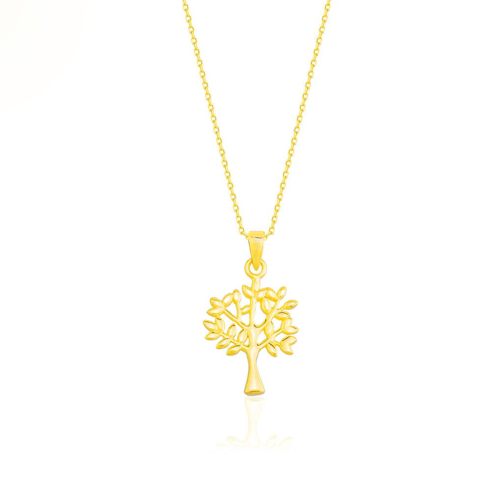 Gold Plated Fashionable Tree Necklace  925 Crt Sterling Silver Wholesale Turkish Jewelry