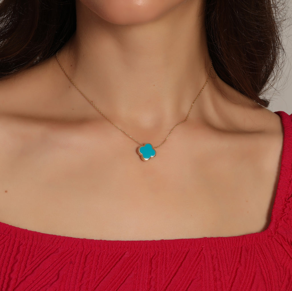 925 Crt Sterling Silver Gold Plated Fashionable Turquoise Enamel Clover Necklace Wholesale Turkish Jewelry