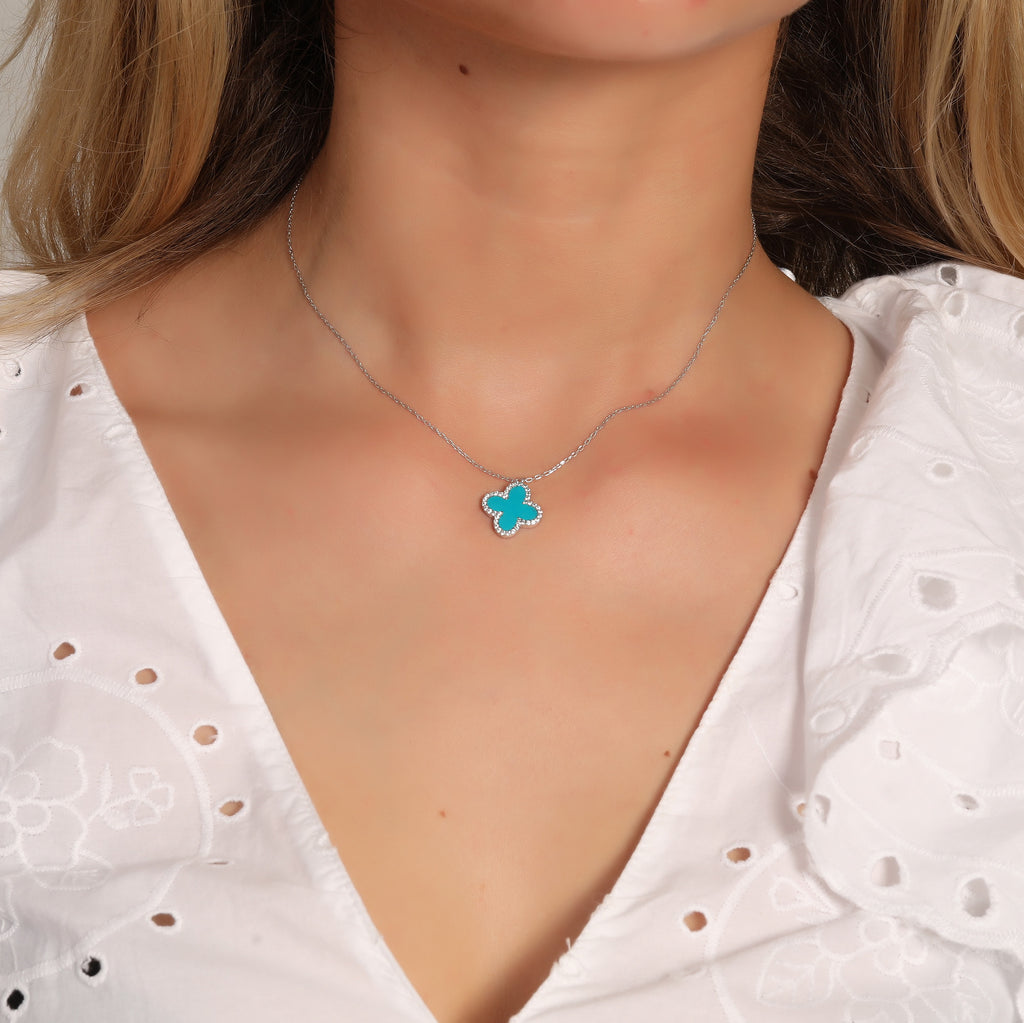 925 Crt Sterling Silver Gold Plated Fashionable Turquoise Enamel Zirconia Frame Clover Necklace Wholesale Turkish Jewelry