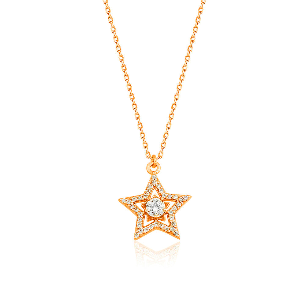 925 Crt Sterling Silver Gold Plated Fashionable Cubic Zirconia Star Necklace Wholesale Turkish Jewelry