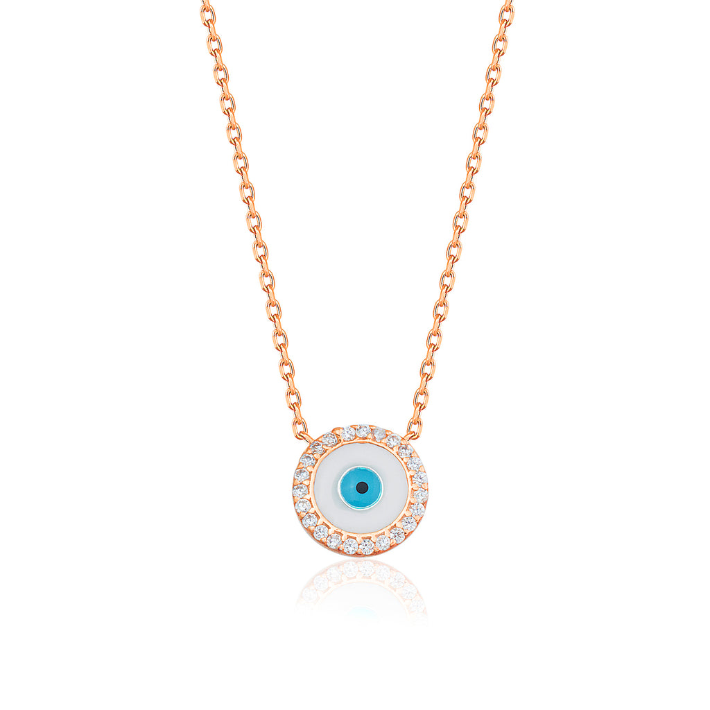 Gold Plated Fashionable Cubic Zirconia Opal Evil Eye Necklace 925 Crt Sterling Silver  Wholesale Turkish Jewelry