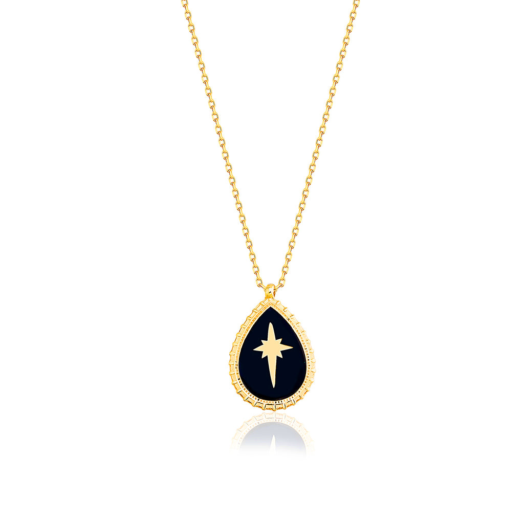 Gold Plated Fashionable Black Enamel Northstar Oval Necklace 925 Crt Sterling Silver Wholesale Turkish Jewelry