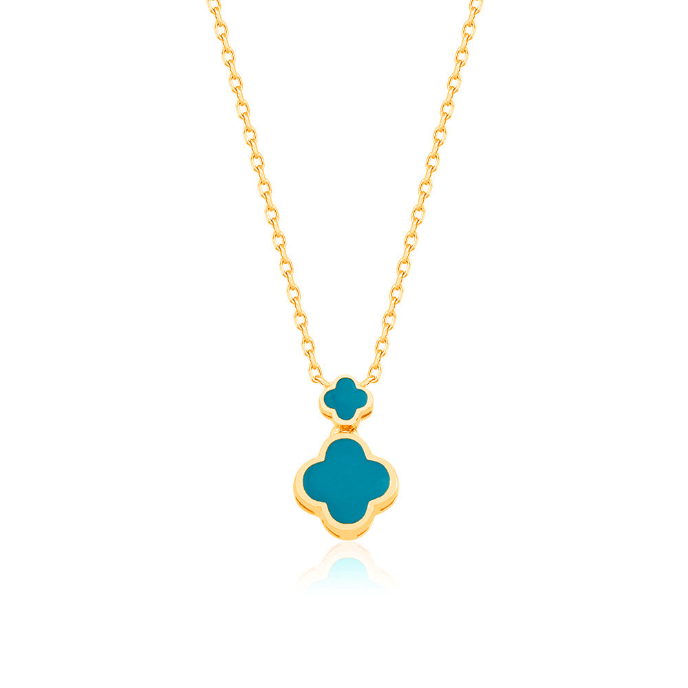 Gold Plated Fashionable Turquoise Enamel Double Clover Necklace 925 Crt Sterling Silver Wholesale Turkish Jewelry