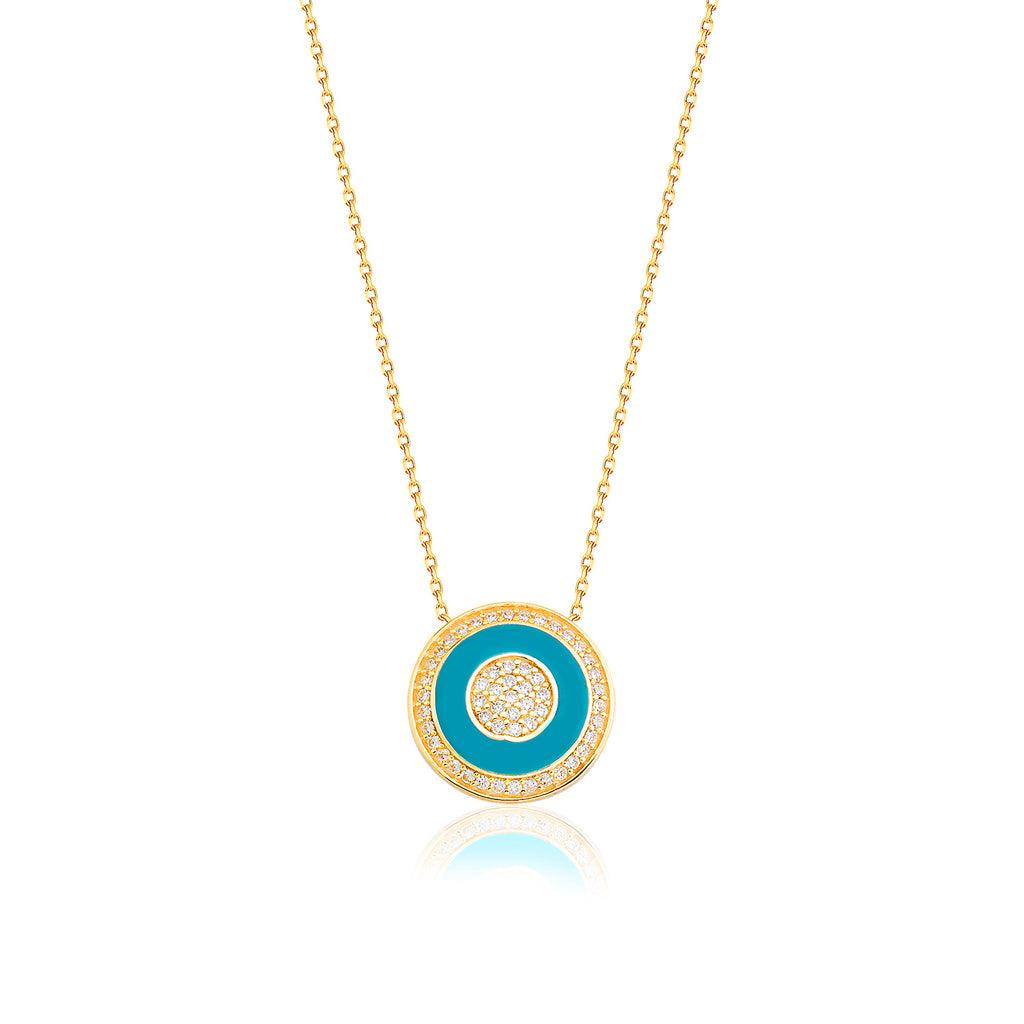 Gold Plated Fashionable Cubic Zirconia Turquoise Enamel Round Necklace 925 Crt Sterling Silver Wholesale Turkish Jewelry