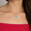 925 Crt Sterling Silver Gold Plated Fashionable Cubic Zirconia Turquoise Enamel Round Necklace Wholesale Turkish Jewelry