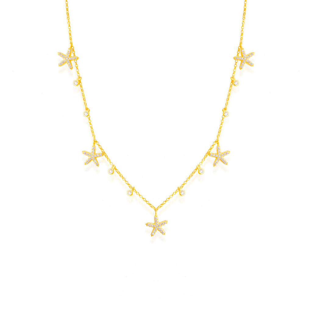925 Crt Sterling Silver Gold Plated Fashionable Zirconia Sea Star Necklace Wholesale Turkish Jewelry