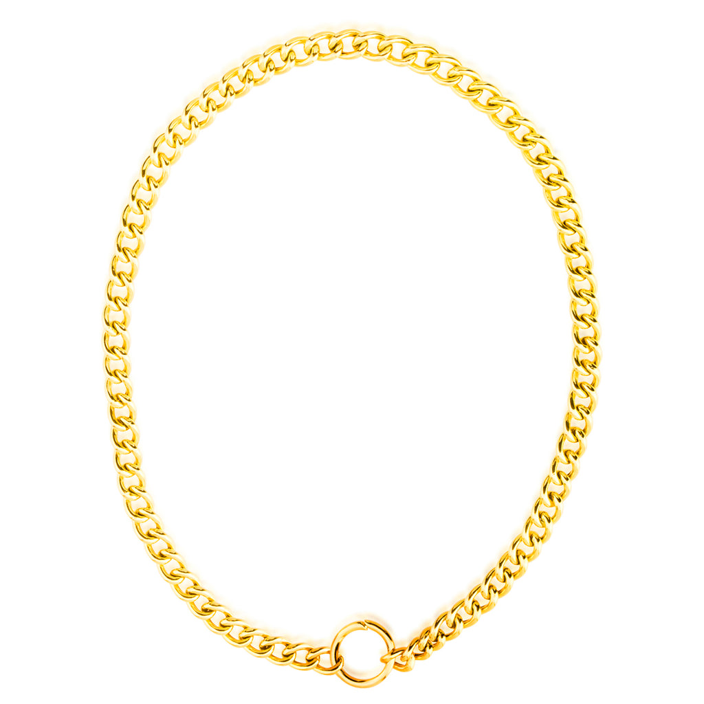 925 Crt Sterling Silver Big Plain Cuban Chain Gold Plated Necklace Wholesale Turkish Jewelry
