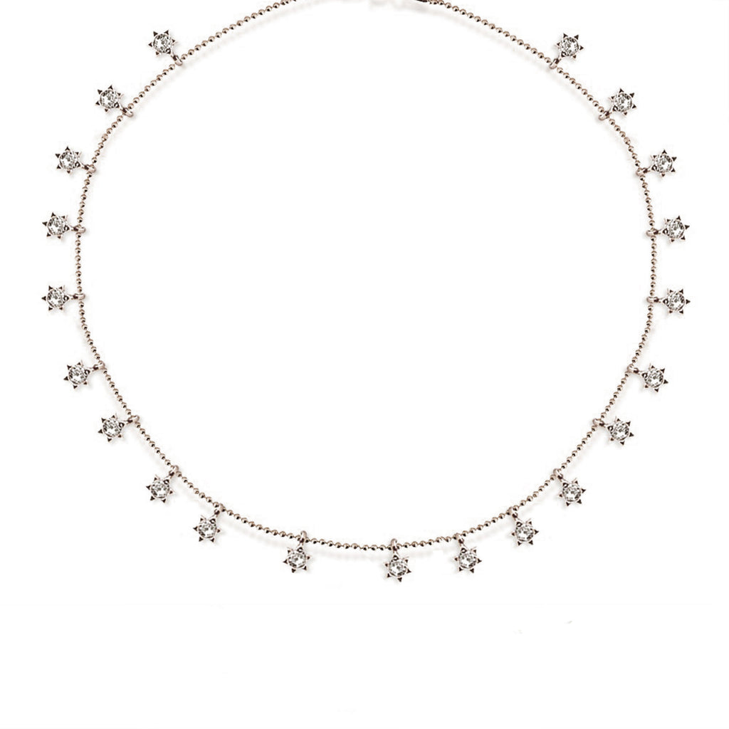 925 Crt Sterling Silver Zirconia Stars Choker Gold Plated Necklace Wholesale Turkish Jewelry