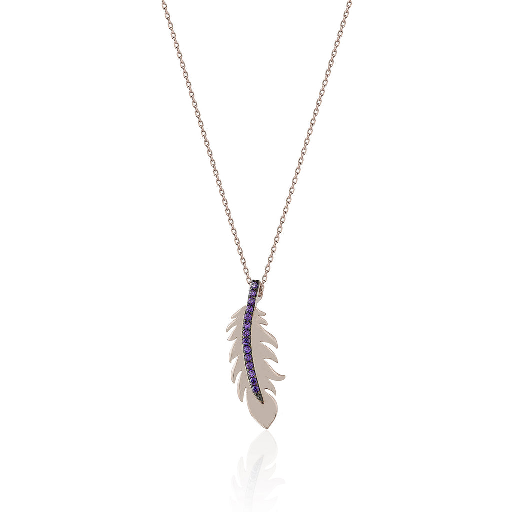 925 Crt Sterling Silver Gold Plated Trendy Purple Zirconia Feather Necklace Wholesale Turkish Jewelry