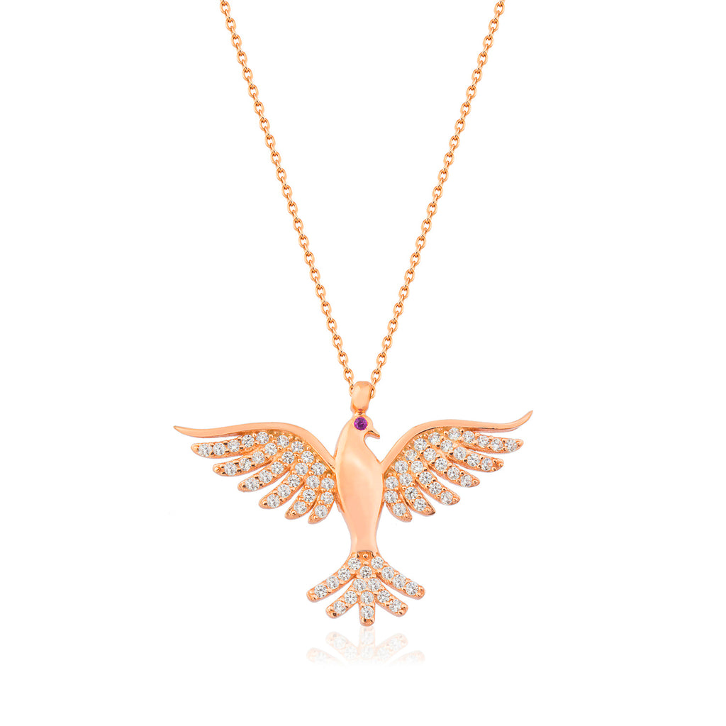 Zirconia Phoenix Simurg Bird Gold Plated Necklace Wholesale Turkish 925 Crt Sterling Silver Jewelry