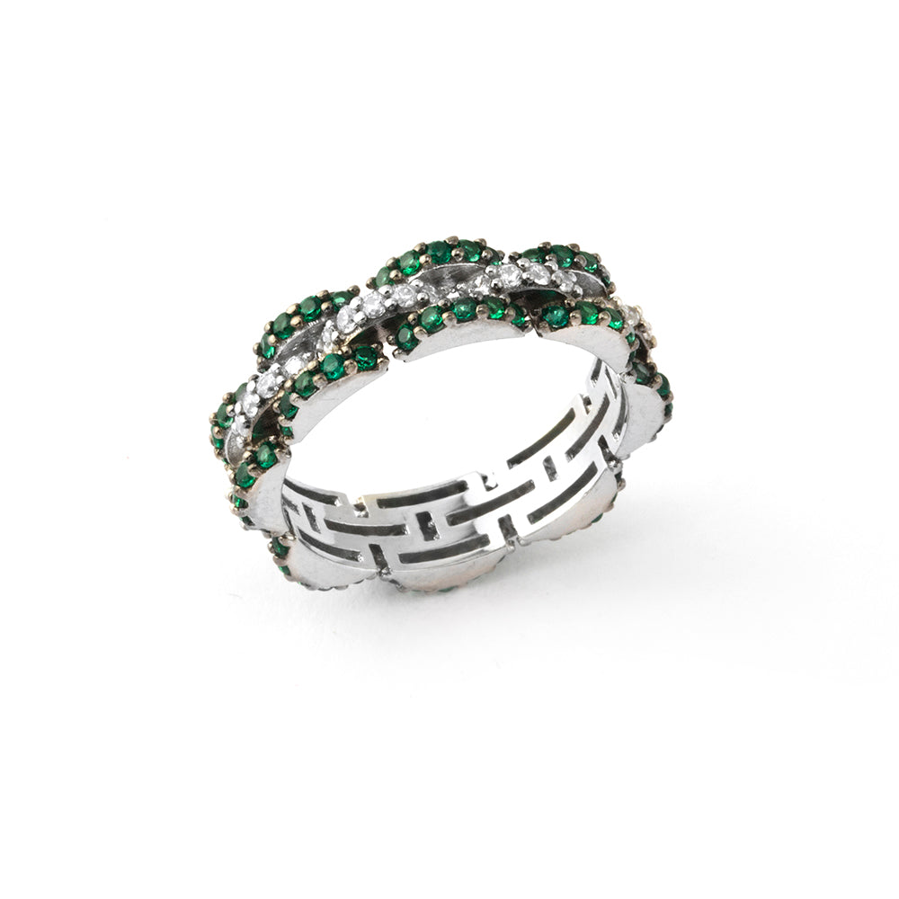 925 Crt Sterling Silver Handcrafted Halfmoon Green White Zirconia Three Line Eternity Gold Plated Fashionable Ring Wholesale Turkish Jewelry
