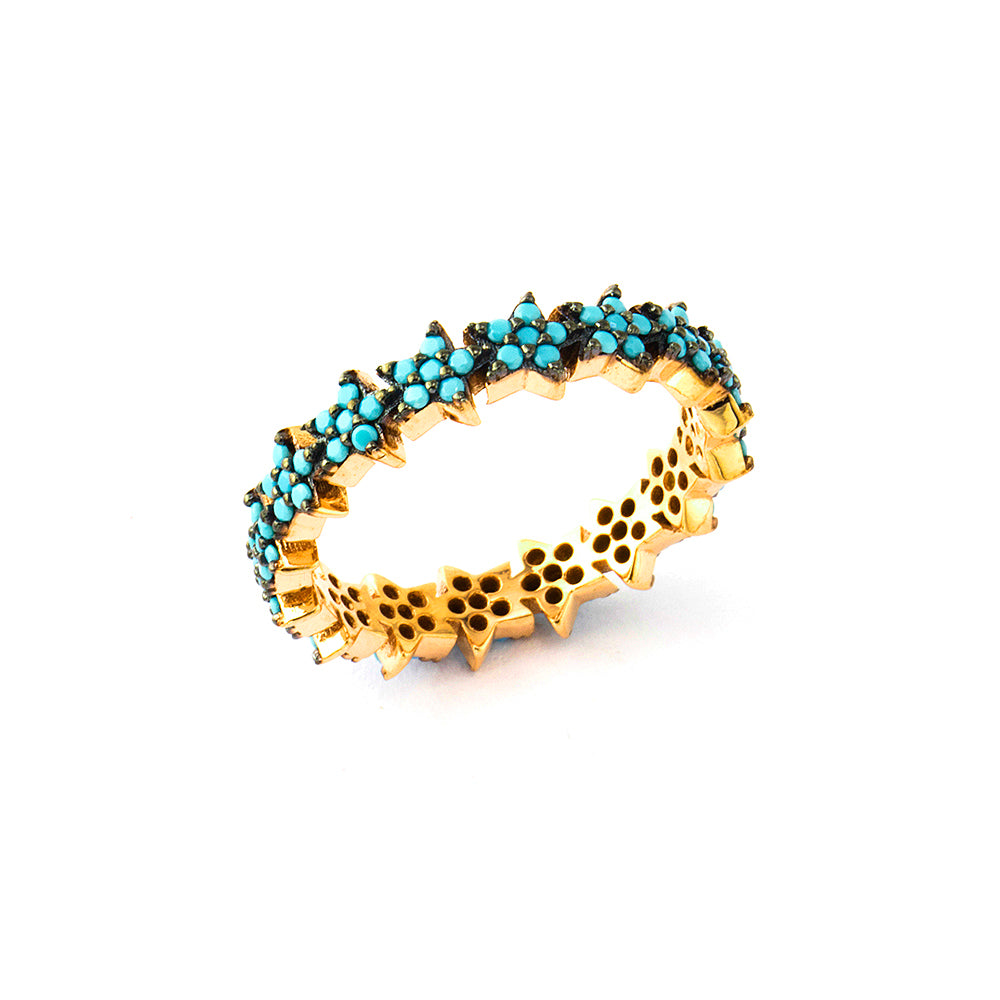 925 Crt Sterling Silver Handcrafted Turquoise Star Eternity Gold Plated Fashionable Ring Wholesale Turkish Jewelry