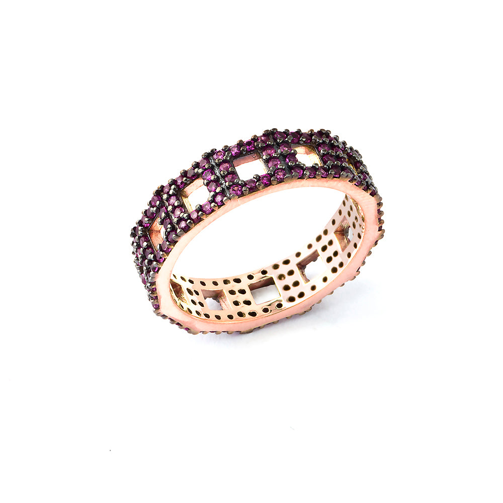 925 Crt Sterling Silver Pink Zirconium 18K Gold Plated Fashionable Eternity Ring Wholesale Turkish Jewelry