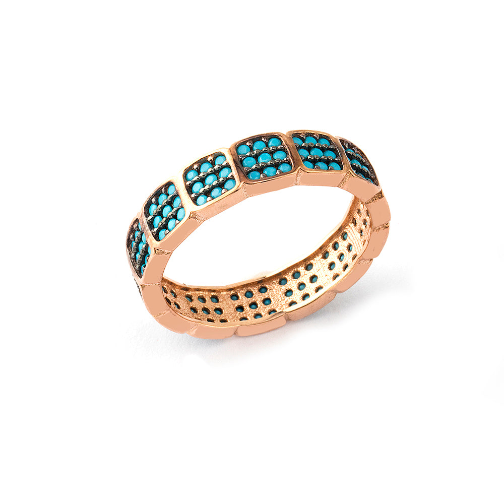 925 Crt Sterling Silver Handcrafted Colorfull Square Zirconia Gold Plated Fashionable Eternity Ring Wholesale Turkish Jewelry