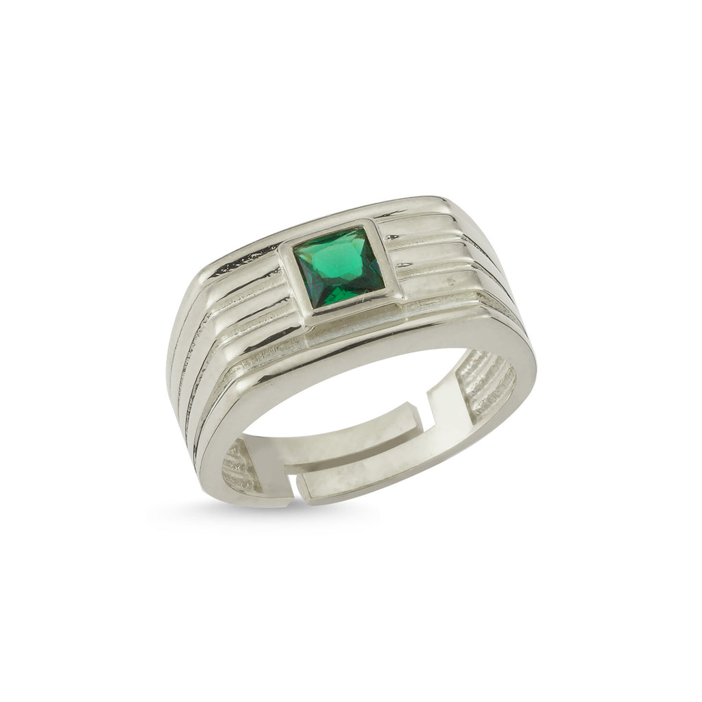 Emerald Zirconium Square 18K Gold Plated Ring Wholesale Turkish 925 Crt Sterling Silver Jewelry
