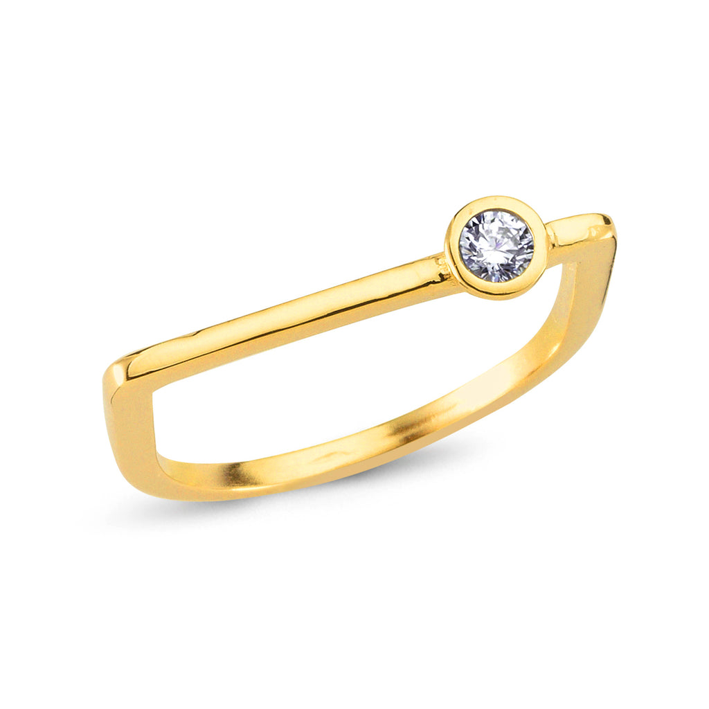 White Zirconium Bar 18K Gold Plated Ring Wholesale 925 Crt Sterling Silver Turkish Jewelry