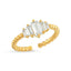 Five Baguette Gold Plated Adjustable Ring Wholesale Turkish 925 Crt Sterling Silver Jewelry